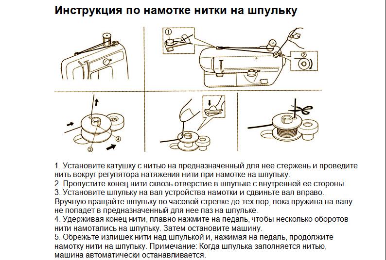 Инструкция по намотке нитки на шпульку Ягуар