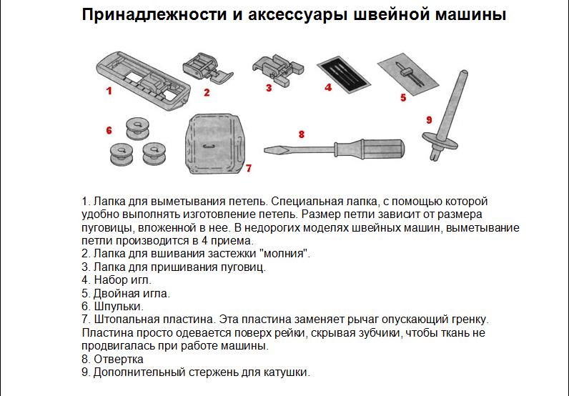 Принадлежности и аксессуары швейной машины