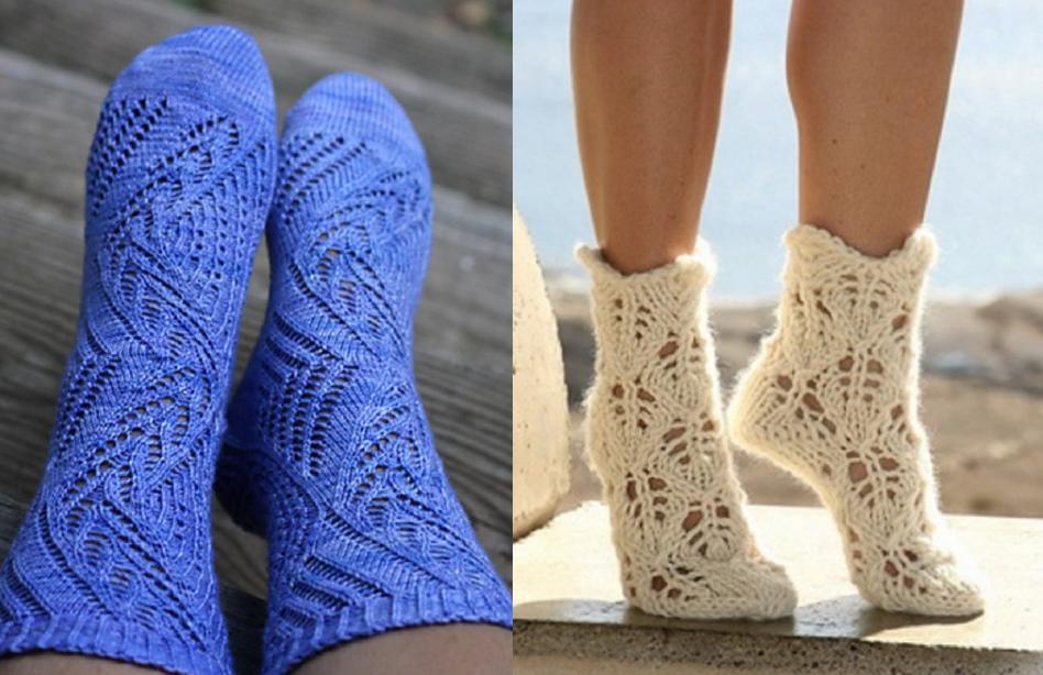 Ажурный узор вязаных носков