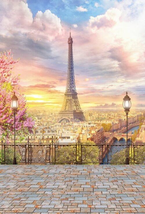 Виниловый фотофон Эйфелева башня и облака