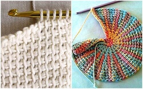 Готовое полотно выполненное тунисским вязанием