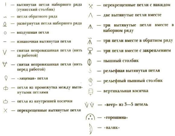 Условные обозначения тунисского вязания