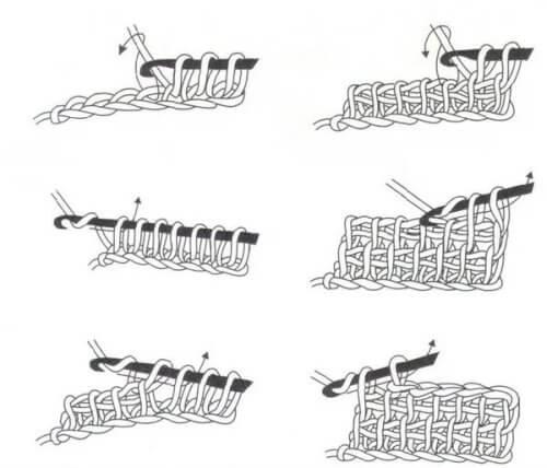 Схема набора петель в тунисском вязании